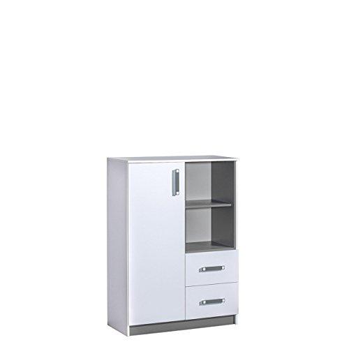 Mirjan24 Kommode Trafiko TR06 mit 2 Schubladen und Tür, Highboard, Sideboard, Mehrzweckschrank für Jugendzimmer (Weiß/Weiß + Grau)