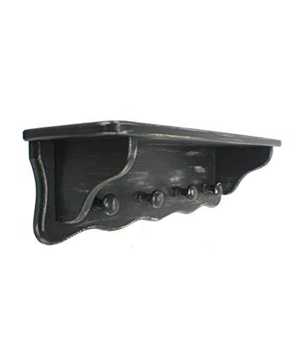 CAL FUSTER - Colgador Perchero de Pared con Sombrerero Cuatro Perchas Color Negro decapado Medidas: 20x67x20 cm.
