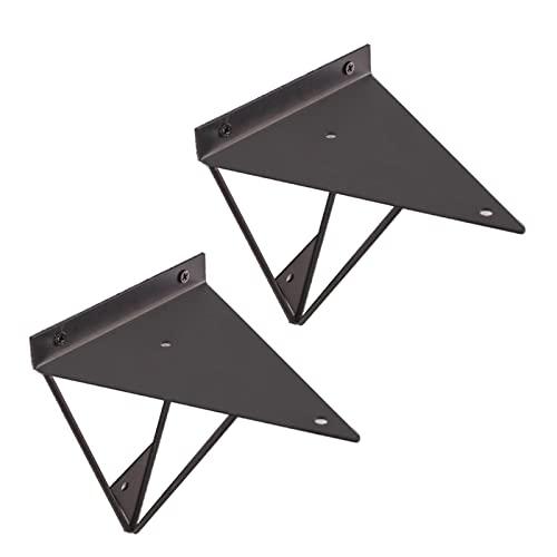 Filit Soportes para Estantes Dorados,escuadra Triangular De Metal,Soportes De Pared,baldas Oculta,estantes De Cocina con Tornillos,2 Piezas,para Decoración,Black-16cm/6.5in