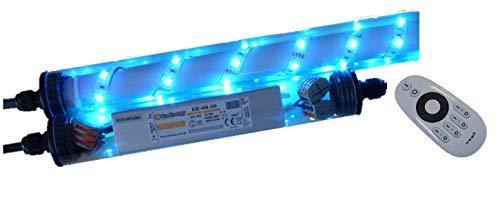 Led Gabionen Licht Beleuchtung LED 2x1,00m länge dimmbar Farbe blau Außenbeleuchtung Steinmauer Garten Anschluß 230 Volt über offene Kabelenden
