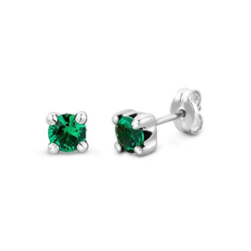 Miore Ohrring Damen runde Ohrstecker mit Edelstein/Geburtsstein Smaragd in grün aus Weißgold 9 Karat / 375 Gold, Ohrschmuck