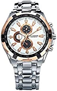 Curren Casual Watch For Men Analog Stainless Steel - 8023 - Silver and rose gold