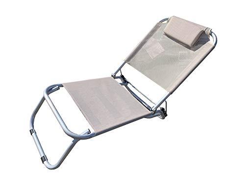 GLOBOLANDIA Spiaggina a 3 Posizioni in Alluminio e Textilene Ecru 685974 con Cuscino, 3 Cinghie Elastiche