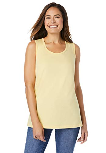 Woman Within Women's Plus Size Perfect Scoop-Neck Tank Top - M, Banana Yellow