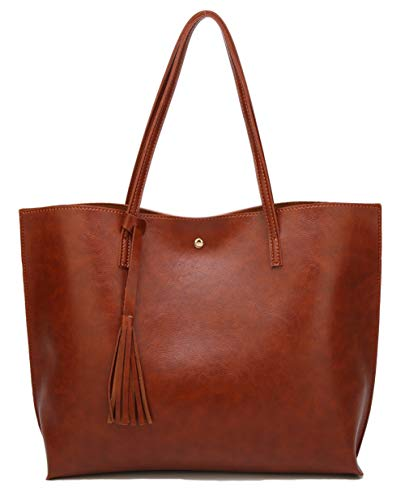 Women's Soft Faux Leather Tote Shoulder Bag from Dreubea, Big Capacity Tassel Handbag Brown New Style