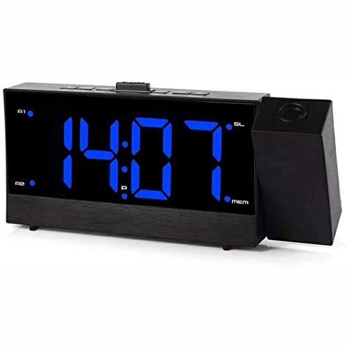 YUYANDE Reloj de Alarma de proyección Radio FM, Reloj Digital con Cargador de teléfono USB, fácil de Usar, Borrar Big Blue 180 ° Giratorio, 12 / 24h Reloj Despertador Digital para dormitorios Techo