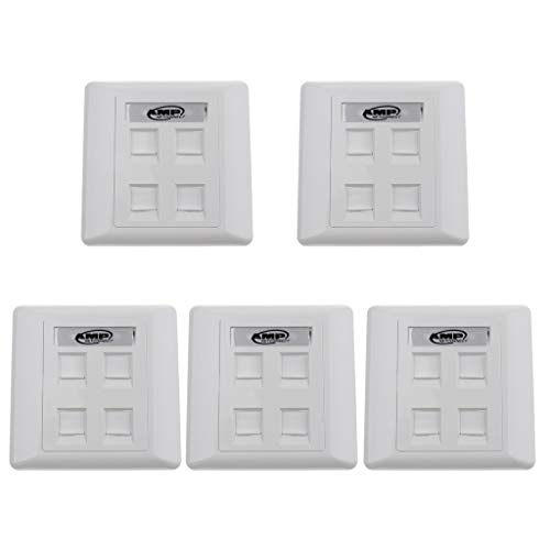 IPOTCH 5x RJ11 Front Panel Wall Socket Ethernet Double Gang 4 Ports with Keystones