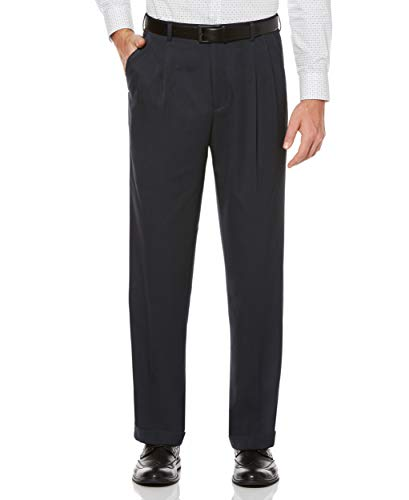 Perry Ellis Men's Classic Fit Elastic Waist Double Pleated Cuffed Pant, Twilight, 34x32