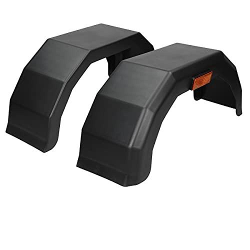 ECD Germany 2X Guardabarros de Remolque 10'- 180 mm / 605 mm Guardabarros de Plástico PP de Alta Densidad Protector contra Impactos Color Negro Alas Faciles de Instalar Montables en Ambos Lados