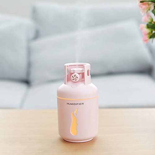 Kaper Go Humidificador del Tanque De Gasolina/Ventilador Pequeño/Luz Nocturna/Aromaterapia/Humidificador Portátil Multifunción USB Cuatro En Uno (Color : Pink)
