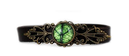 Miss Lovie Pulsera de piel para mujer, estilo vintage, con hojas, cabujón, verde y bronce