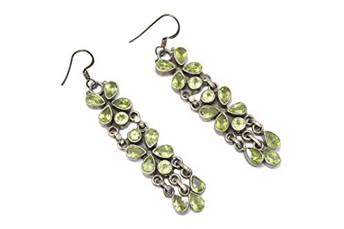 Rajasthan Gems Pendientes hechos a mano para mujer, plata de ley 925, peridoto verde