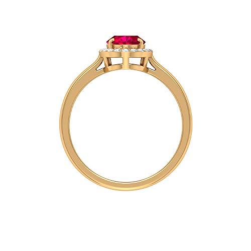 Anillo de compromiso solitario, anillo de rubí de forma ovalada de 1,55 quilates, anillo de diamantes redondo HI-SI, anillo de boda único, anillo de declaración vintage, 14K Oro amarillo, Size:EU 51