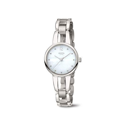 Boccia Damen Analog Quarz Uhr mit Titan Armband 3290-01