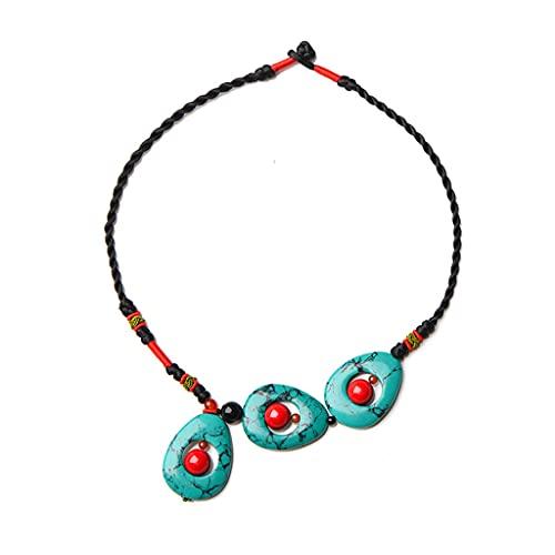 WYPAN 1Cadena De Clavcula Colgante Natural Turquesa De Las Mujeres Bohemio, Collar gata Tallado A Mano Original Retro, Cadena De Suter Joyas Tejido tnica