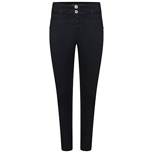 M17 Damskie 5056242785767 damskie dżinsy z wysokim stanem z podwójnym guzikiem codzienne bawełniane spodnie z kieszeniami (14, czarne)