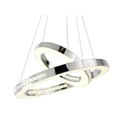 Hängeleuchten,Pendelleuchten,Kronleuchter, Schlafzimmer Wohnzimmer LED Kronleuchter Deckenleuchten Modern 2 Ring Circular Pendelleuchte kreative Deckenleuchten, warmes Licht ( Size : 25*50cm )