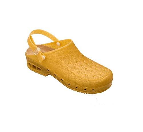 Dr Scholl Worktime C/C N Zuecos - Zapatillas sanitarias unisex con correa, color dorado con purpurina Dorado Size: 44.5 EU