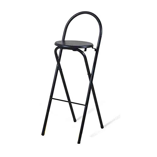 TABOURETS de Bar, Chaise de Bar, Chaise Haute, Chaise Pliante, Chaise de Salle à Manger, Fer Soild Wood , Simple Moderne avec Dossier Maison pour Adultes (Couleur : Noir)