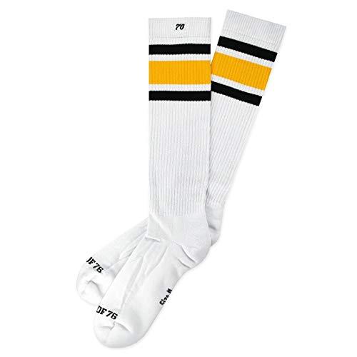 Spirit of 76 Black 'N Yellow Hi   Hohe Retro Socken mit Streifen   Weiß, Schwarz und Gelb gestreift   kniehoch   stylische Unisex Kniestrümpfe Größe L (43-46)