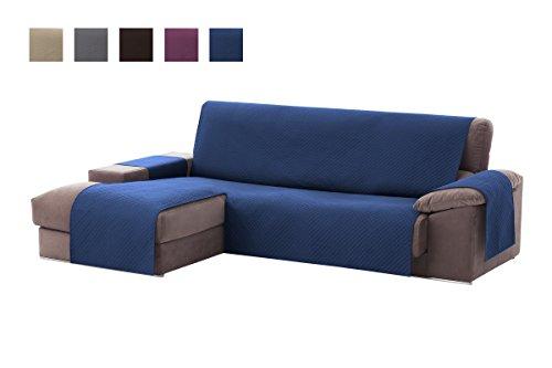 Textilhome - Copridivano Salvadivano Chaise Longe Adele - Color Blu -BRACCIOLO Sinistra - Protezione per divani Imbottiti - Dimencione 240cm -(Visto di Fronte).