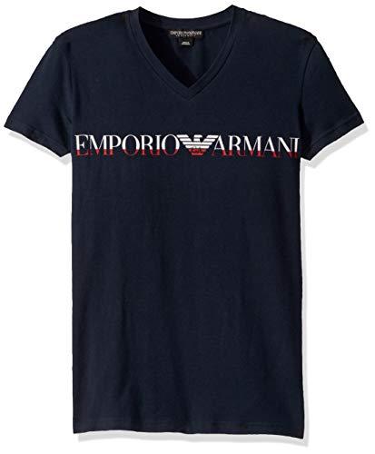 Emporio Armani Herren Megalogo V-Neck T-Shirt Pyjama-Oberteil (Top), Marineblau, Small