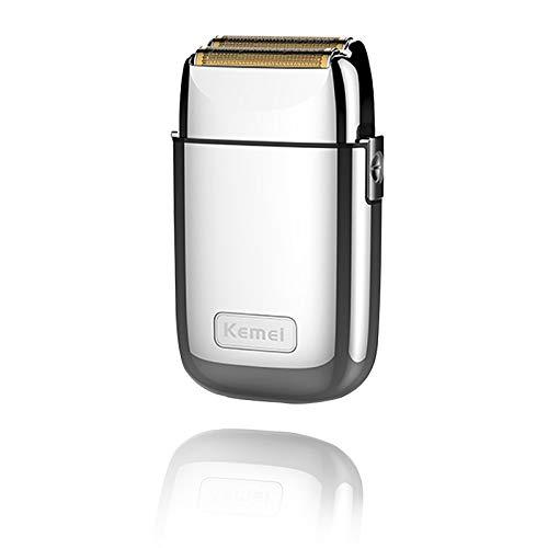 Kemei Afeitadora eléctrica de doble hoja de metal sin cuerda para hombres Cerrar máquinas de afeitar eléctricas, tipo C recargable para afeitar en húmedo y seco