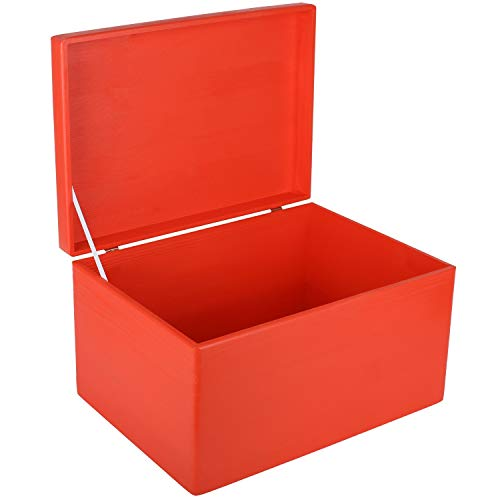 Creative DECO XXL Roja Grande Caja Madera Decorativa Almacenaje   40 x 30 x 24 cm (+/-1cm)   con Tapa   Cofre para Decorar Regalo Decoupage   Juguetes, Documentos, Objetos de Valor, Herramientas