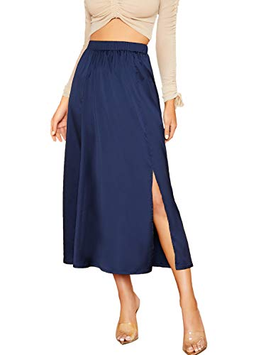 Material: 100% Polyester Features: Fabric has no stretch. Comfortable and exquisite elastic waist design. Satin material, excellent fabric drape. Flowy maxi skirt. Sexy side split skirts design, Highlight your attractive figure, mixing and desire, th...