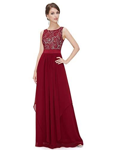 MODETREND Mujer Vestidos Fiesta Largos sin Manga de Gasa Encaje para Ceremonia Coctel Partido Vestido Elegantes de Noche (XXL, Rojo Vino)
