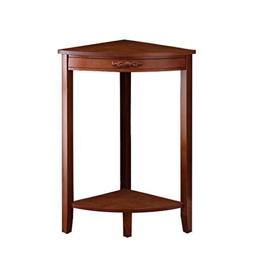 Corner Shelf 2-Tier Holz Kleine Ecktisch Einheit Regal Rack, Home Stehen Lagerung Racking Telefon Lampe Tisch Flur Anlage Stand Halle Möbel 38 * 38 * 72,5 cm (Farbe : Walnut Farbe)