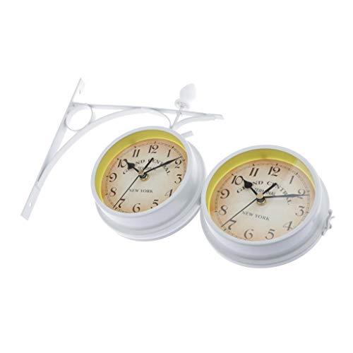 Amuzocity Wandstation Uhr Doppelseitige Uhr 22cm Durchmesser Uhr Outdoor Garden Decor Uhr - Weiß