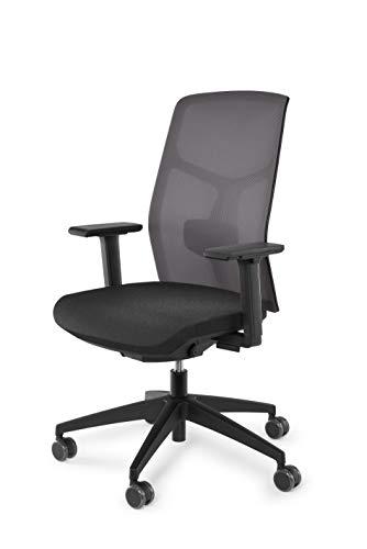 vabo Drehstuhl mit hoher Netz-Rückenlehne, Büro-Stuhl mit gepolstertem Sitz, verstellbaren Armlehnen, Schreibtisch-Stuhl mit Lumbalstütze in grau
