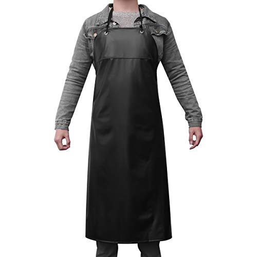 Supvox Waterproof Unisex Heavy Duty Apron for Butchers Kitchen (Black)