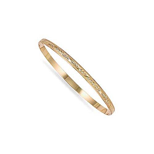 Jewelco London Ladies Solid 9ct Yellow Gold Diamond Cut D-Shape Slave 4mm Bangle Bracelet