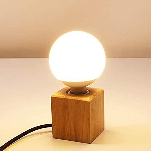 Mengjay Holz -Würfel Tischleuchte, Holz Tischlampe mit E27 Fassung, bis max.60W, Dekoleuchte für Edison retro industrial Glühbirnen,ohne Leuchtmittel für Wohnzimmer, Schlafzimmer und Büro 7 * 8cm (A)…