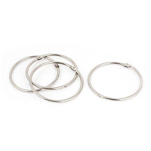 Metall Scrapbooking Buch FEUILLETS Mobiles Binder Ringe 80mm 4Pcs Silber Ton de