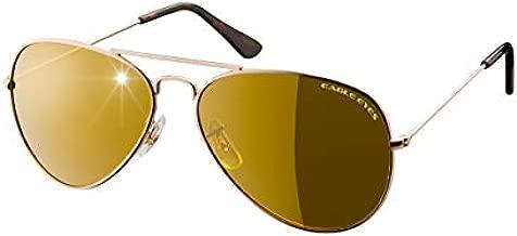 Eagle Eyes CLASSIC AVIATOR Sunglasses - Stainless Steel Frame (Gold, 57mm), Polarized Lenses