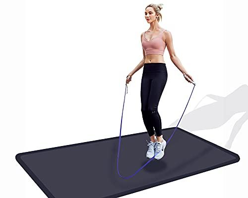 UniComfort, Anti-Fatigue 100% PU Fitness Mat, Skipping Jump Rope, Exercise Mat, Smooth Surface (Black, 26x48x0.625)