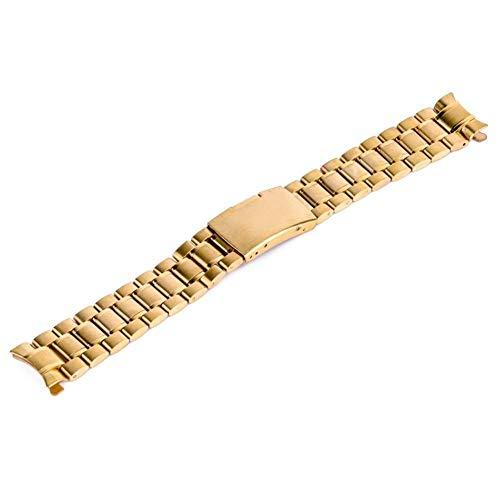 Correa de reloj 18/20/22/24 mm Banda de reloj de extremo curvo Correa de reloj de pulsera de metal de acero inoxidable unisex Pulsera de cierre desplegable con doble pliegue ## 11 (Color: Negro,