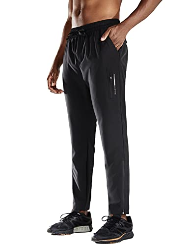 BALEAF Men's Running Pants Lightweight Quick Dry Elastic Waist Workout Exercise Tapered Pant with Pocket Black Size XL