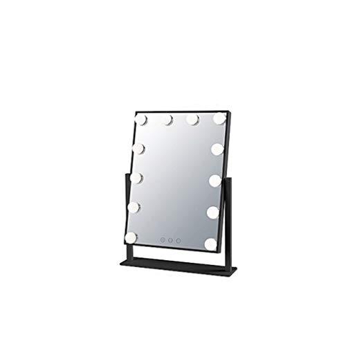 SJYDQ Espejo de Maquillaje Iluminado Espejo de tocador de Maquillaje Espejo con luz Smart Touch Control 3Colors Regulable Luz Rotación