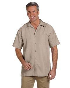 Harriton Men's Barbados Textured Camp Shirt - Khaki SMALL