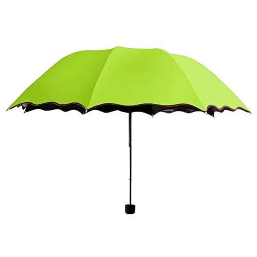 ZGMMM Paraplu, winddicht, milieuvriendelijk, parasol, voor dames, op reis, op de parasol, opvouwbaar, tegen uv-straling groen