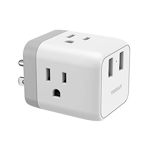 Multi Plug Outlet Extender with 2 USB Phone Charger, Travel Power Strip Extension for Cruise Ship Accessories, Charging Cube 3 Way Plug Wall Adapter Tap Multiple Outlet Splitter
