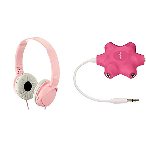 Sony MDR-ZX110 Cuffie On-Ear, Rosa & Amazon Basics Sdoppiatore per cuffie audio, con 5 prese, Rosa