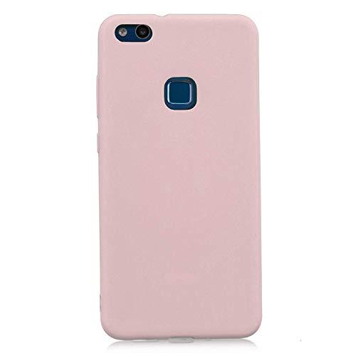 cuzz Funda para Huawei P10 Lite+{Protector de Pantalla de Vidrio Templado} Carcasa Silicona Suave Gel Rasguño y Resistente Teléfono Móvil Cover-Rosa Claro
