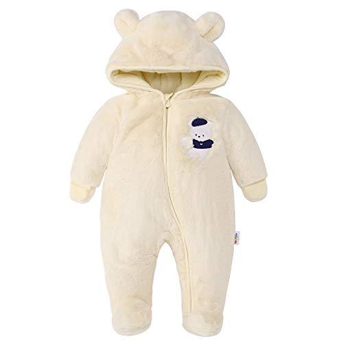 Baby Schneeanzüge Winter Overall mit Kapuze Fleece Strampler Mädchen Jungen Warm Outfits- Gr. 0-3 Monate (59 cm), Gelb