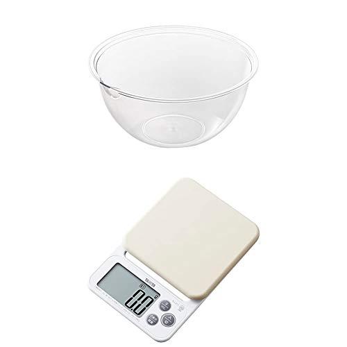 ヨシカワ [セット買い] 日本製 ボール 24�p 耐熱 レンジボウル クリア 4003064 + タニタ キッチンスケール はかり シリコンカバー付き デジタル 2kg 0.1g単位 ホワイト KJ-212 WH カバーが洗える