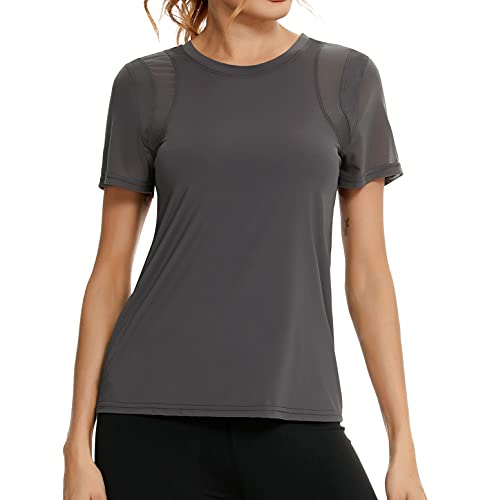 Wayleb Damen Sport T-Shirt Kurzarm Laufshirt Sportshirt Schnell Trockened Fitness Shirts Sportbekleidung Shortsleeve Top
